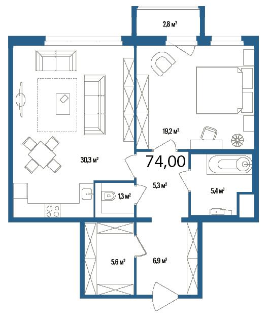 Планировка Однокомнатная квартира площадью 74 кв.м в ЖК «Дом на Нижне-Каменской»