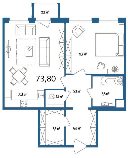 Планировка Однокомнатная квартира площадью 73.8 кв.м в ЖК «Дом на Нижне-Каменской»