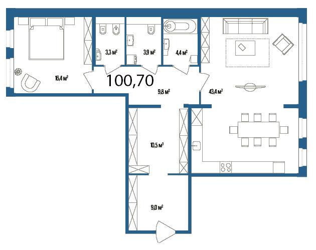 Планировка Однокомнатная квартира площадью 100.7 кв.м в ЖК «Дом на Нижне-Каменской»