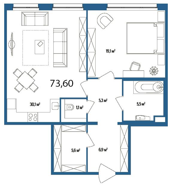 Планировка Однокомнатная квартира площадью 73.6 кв.м в ЖК «Дом на Нижне-Каменской»