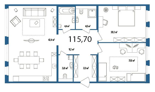 Планировка Двухкомнатная квартира площадью 115.7 кв.м в ЖК «Дом на Нижне-Каменской»