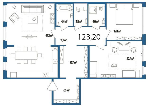 Планировка Двухкомнатная квартира площадью 123.2 кв.м в ЖК «Дом на Нижне-Каменской»