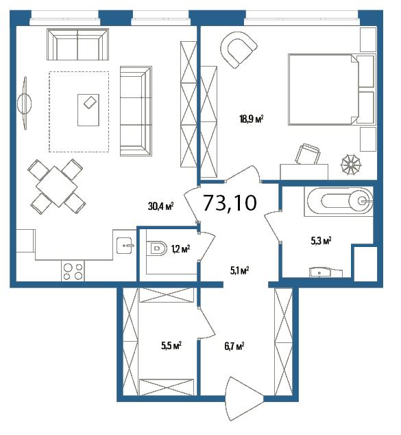 Планировка Однокомнатная квартира площадью 73.1 кв.м в ЖК «Дом на Нижне-Каменской»