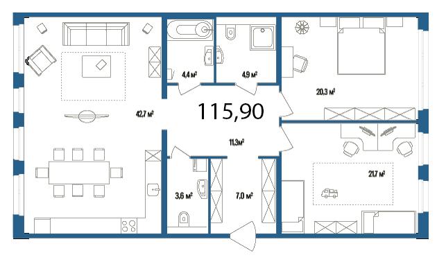 Планировка Двухкомнатная квартира площадью 115.9 кв.м в ЖК «Дом на Нижне-Каменской»